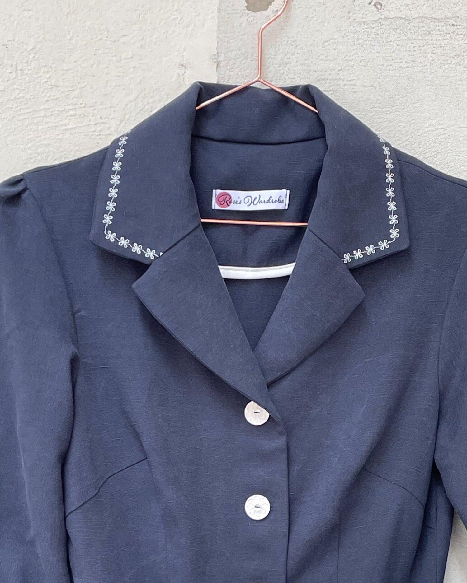 Sarah's bespoke 'Eva' dress in Navy Tencel/Linen