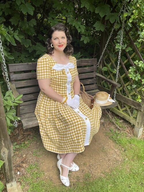 Mustard Linen gingham 'Helen' dress