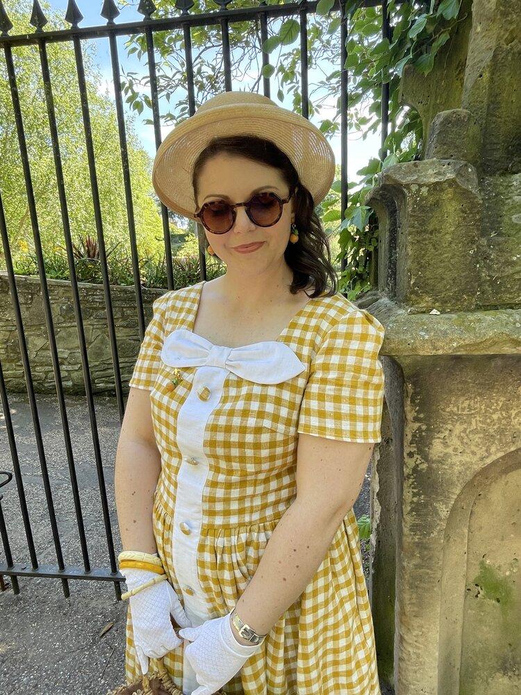 The new 'Helen' mustard gingham linen dress