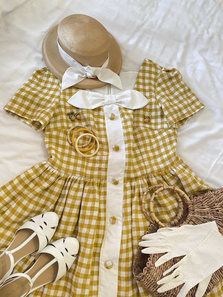 The 'Helen' dress in Mustard linen gingham