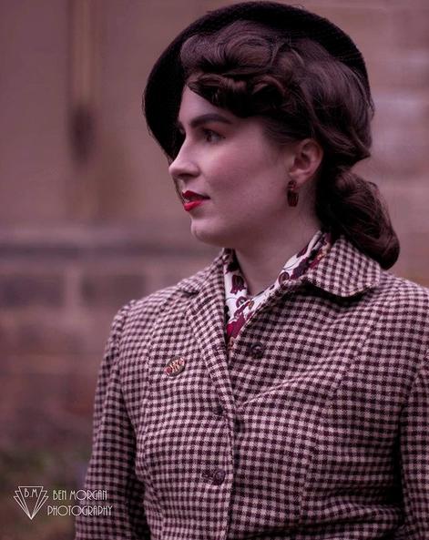 Ellan wearing a true vintage suit - photographed by  @morganphoto1930s