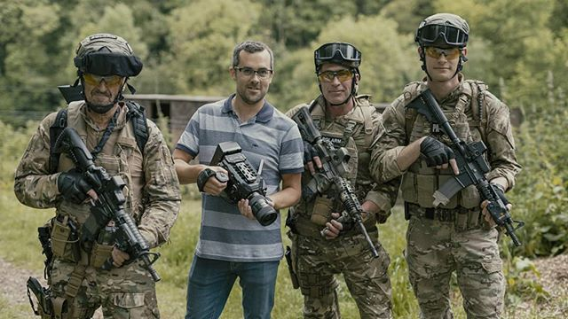 First day of shooting today on an amazing project - went really well, lots of fun, lots of action, loads of guns, and @rosstigram pretending to be a terrorist. Bring on day 2 tomorrow! I'll try to resist posting hundreds of photos from today!