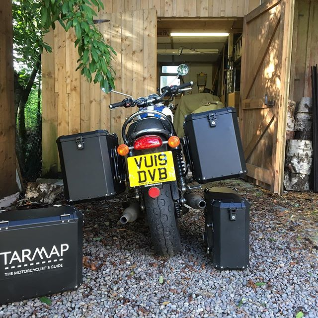 Bigger panniers filled with copies of The Motorcyclist's Guide To Scotland ... all set for Thunder in the Glens in Aviemore this weekend. If you're there, drop in to my stand in the trade village. Help me look busy! . . . #themotorcyclistsguidetoscotland, #thunderintheglens, #aviemore, #pleasedontrainthisweekend