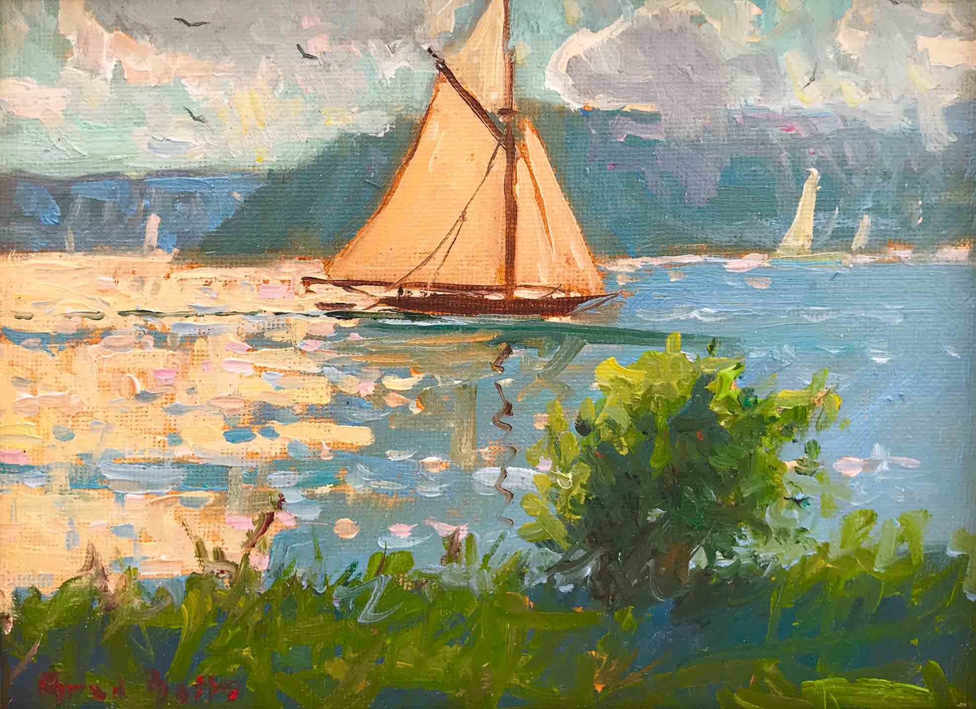 Sailboats off Squirrel Island