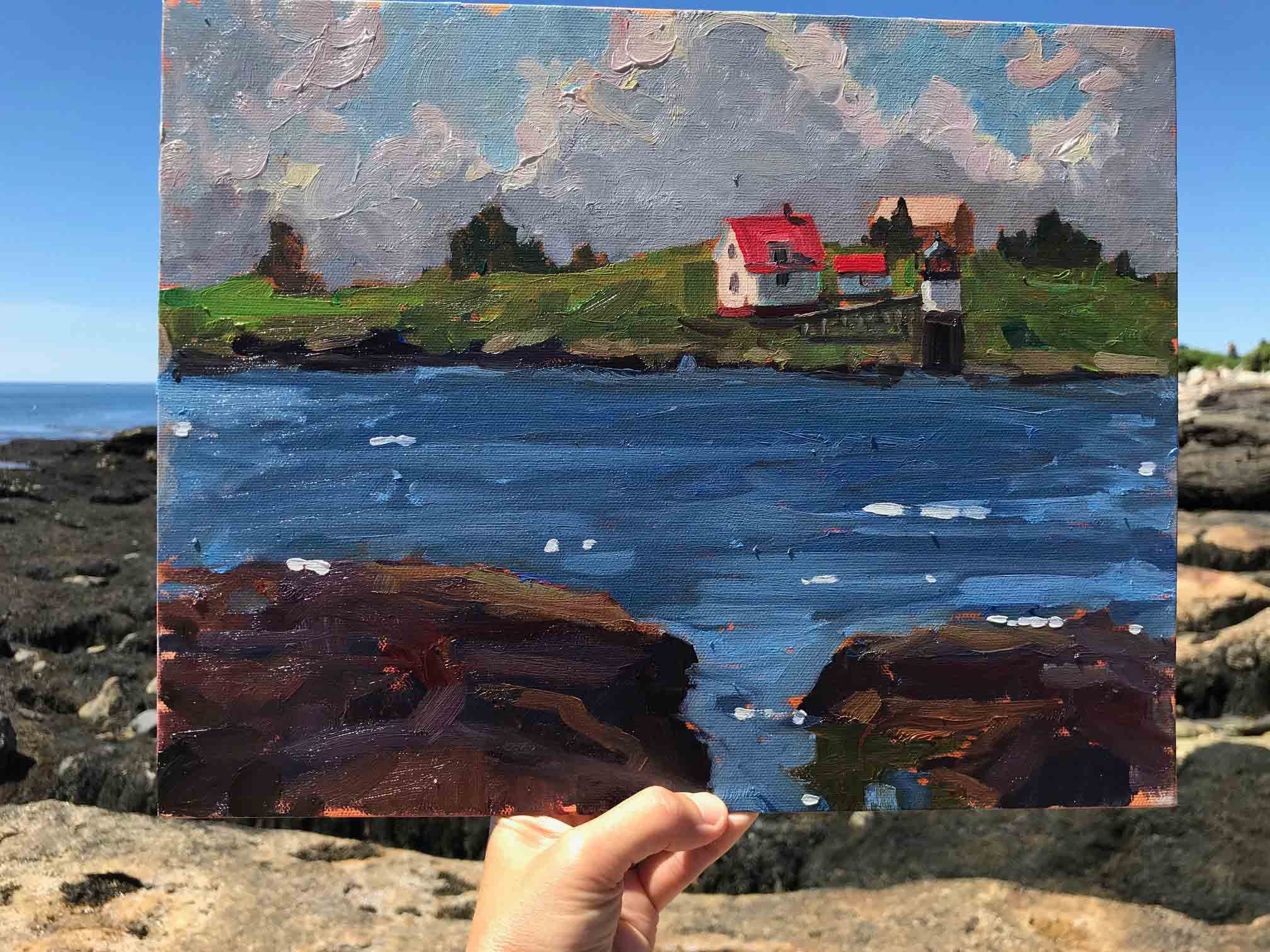 "Brad's plein air painting ""Ram Island Light"""