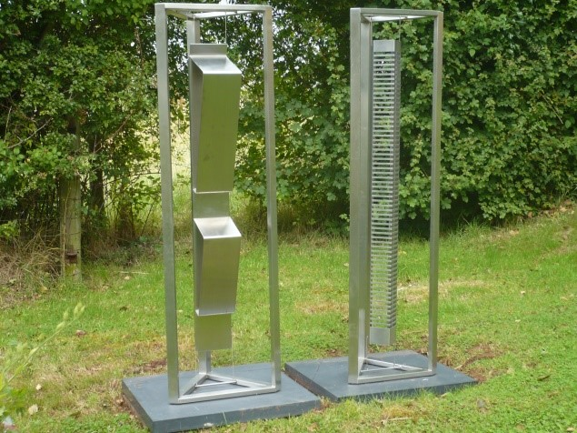 Derek Shiel 1939-2014 Sound Sculptures 2008, Stainless steel on slate bases, Unique