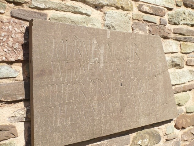 Tom Perkins, Journeying Air 2010, Herefordshire Sandstone. Text Brian Keeble