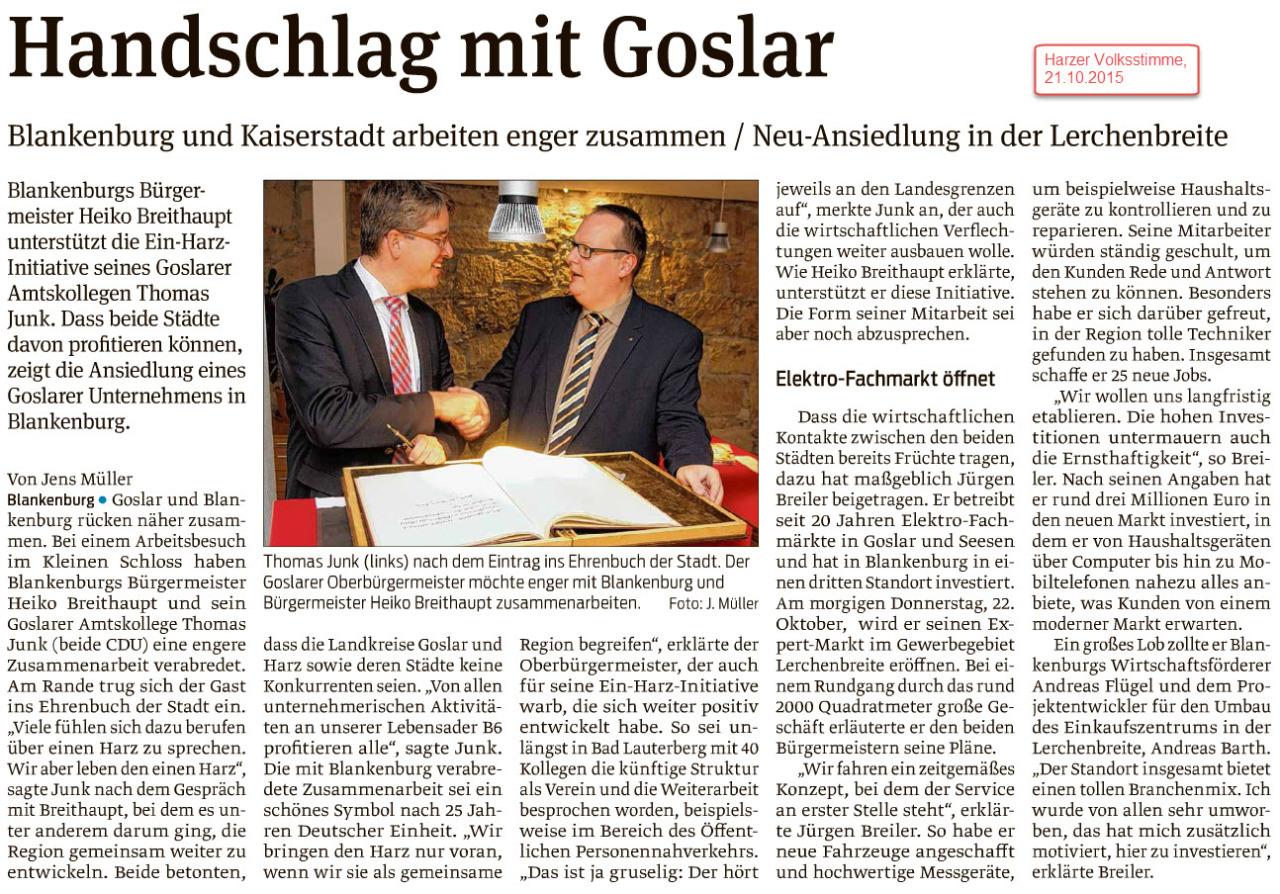 Die wirtschaftlichen Verflechtungen und Beziehungen im Harz interessieren sich weder für Kreis- noch für Landesgrenzen. Der Goslarer Unternehmer Jürgen Breiler (Expert) ist dafür ein gutes, gelungenes Beispiel. Betriebserweiterung von Expert über Goslar und Seesen jetzt auch nach Blankenburg.