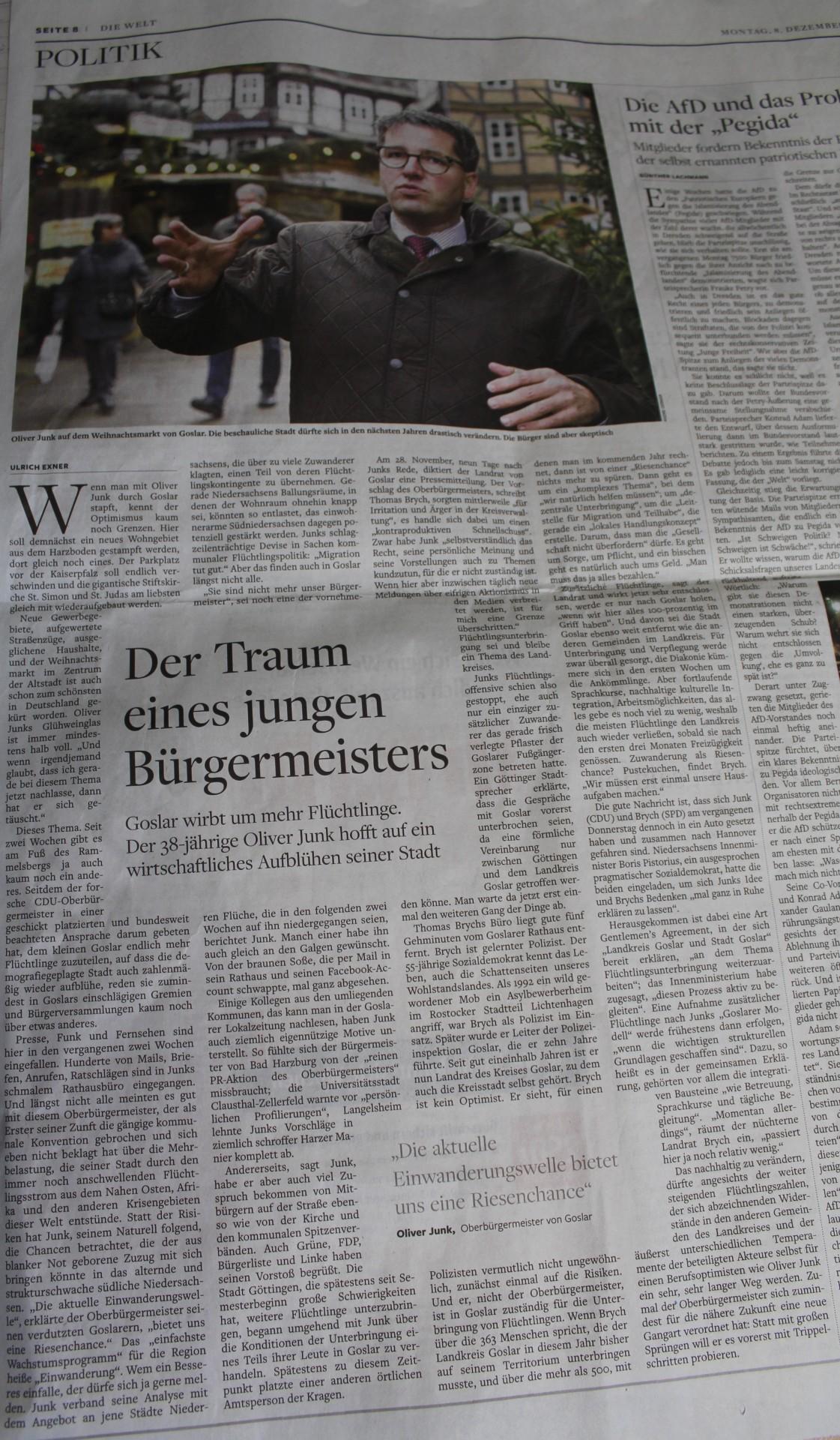 WELT vom 08.12.2014    http://www.welt.de/print/welt_kompakt/article135122645/Der-Traum-eines-jungen-Buergermeisters.html