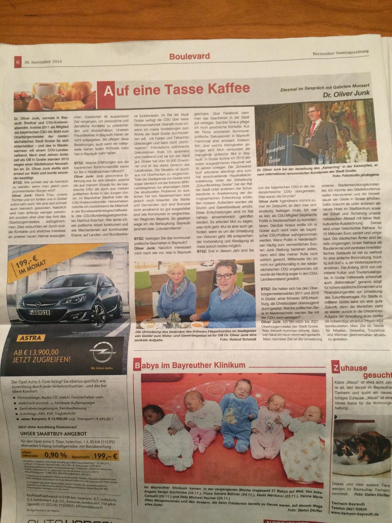 Quelle: Bayreuther Sonntag vom 28.11.2014