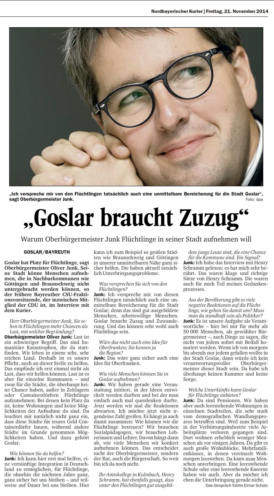 Quelle: Nordbayerischer Kurier, Bayreuth, vom 21.11.2014