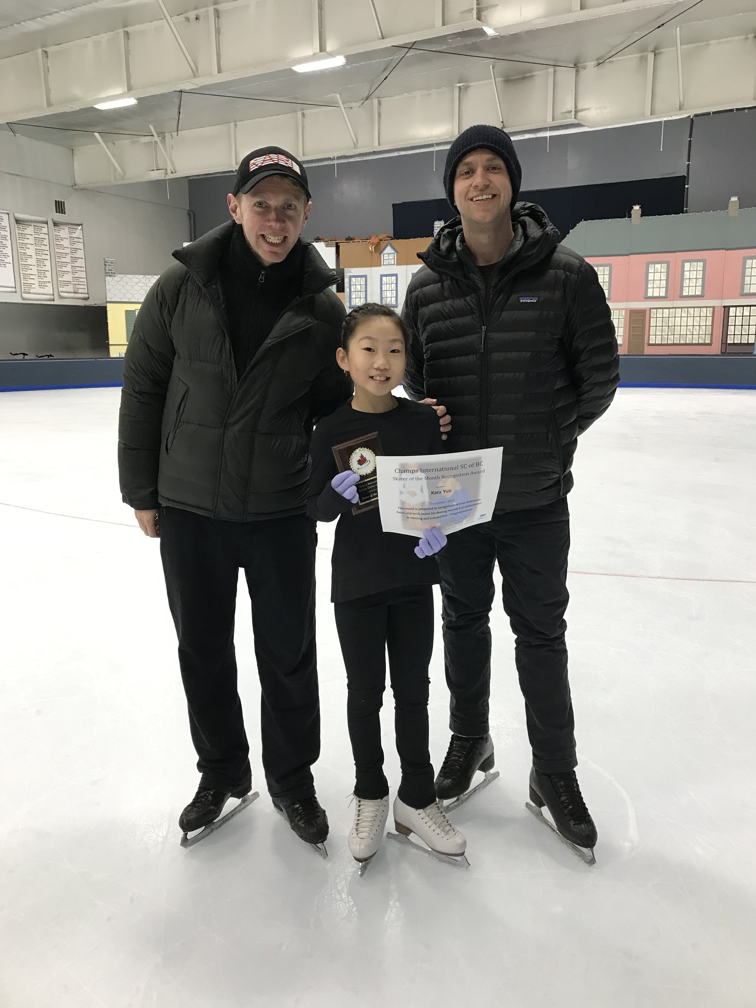 Kara Yun - Champs International Skater of the Month! (Pictured here with coaches Neil Wilson and Josh McRae)