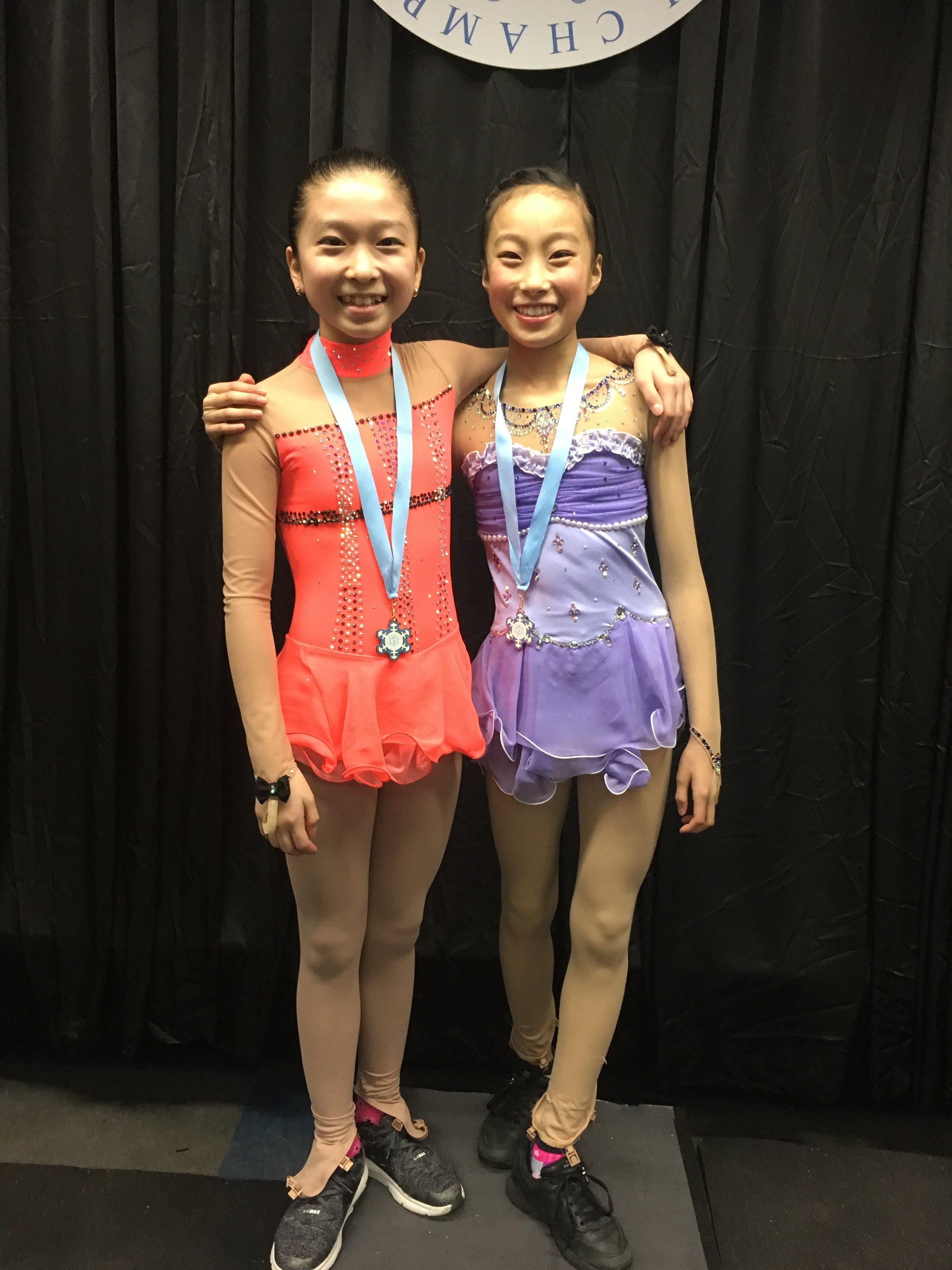 Luka & Yena after their short program performances (Luka 2nd, Yena 3rd)