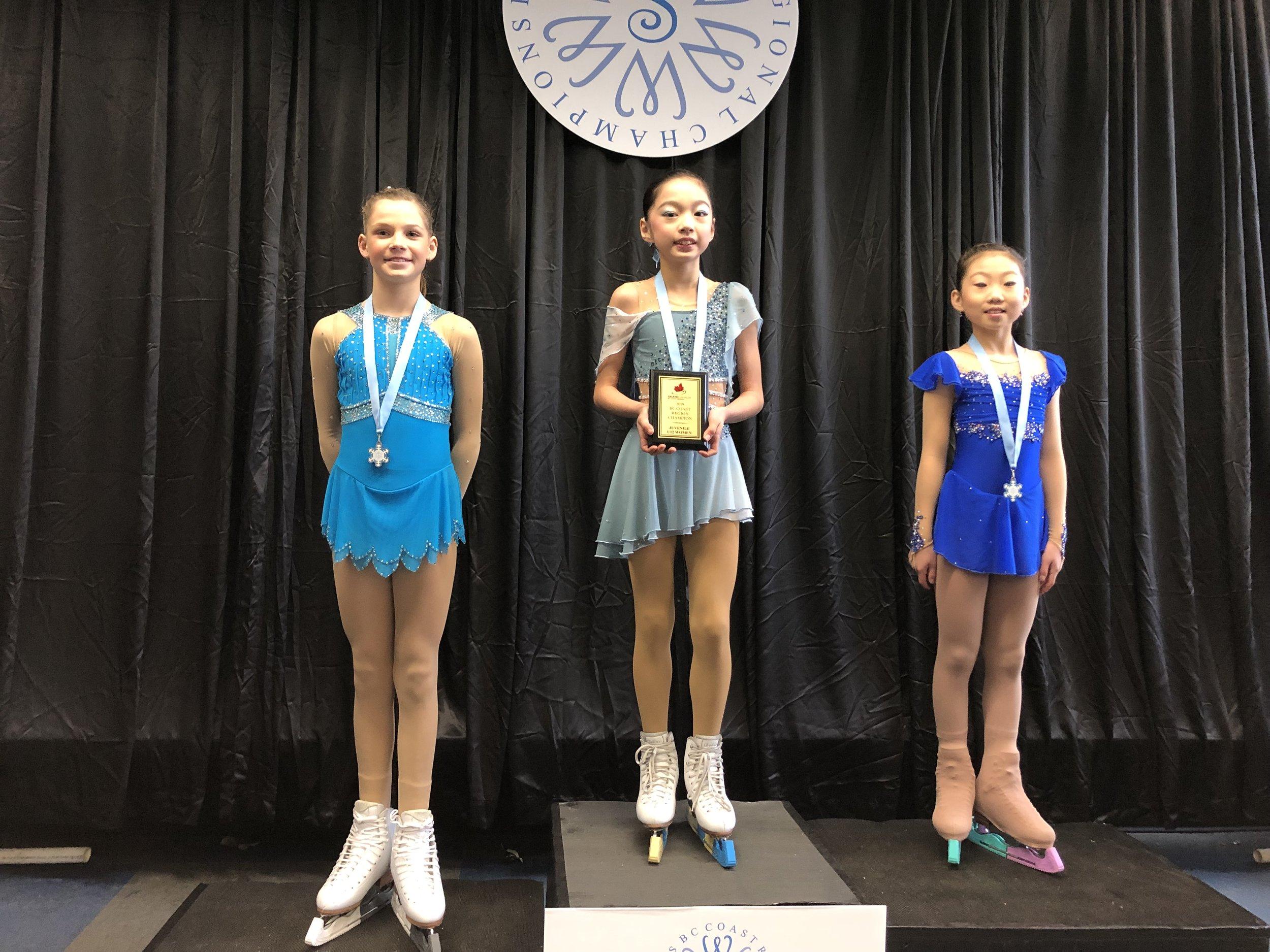 Juvenile Ladies U12 Nayali Liu - Gold Kara Yun - Silver Brookelynn Pollock - Bronze
