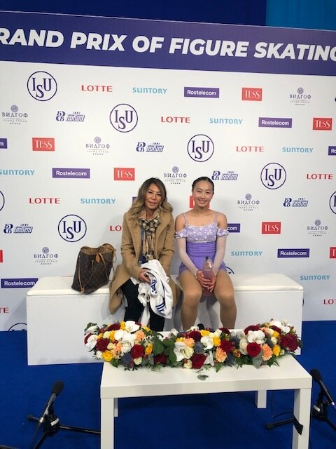 Miki & Marissa in the Kiss & Cry at 2019 ISU JGP in Chelyabinsk, Russia