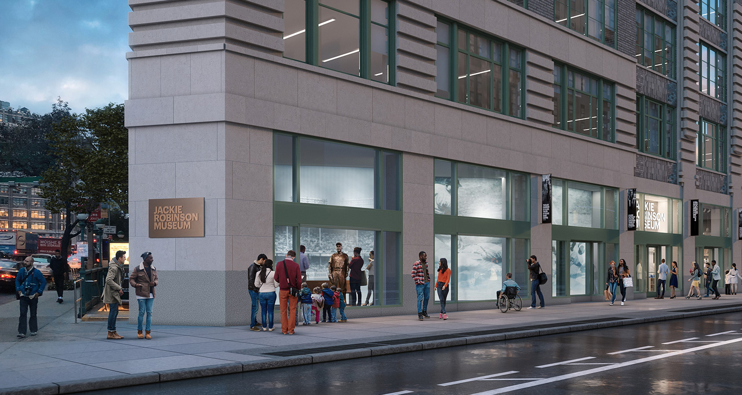 Exterior render of the museum on Varick Street.  Gensler