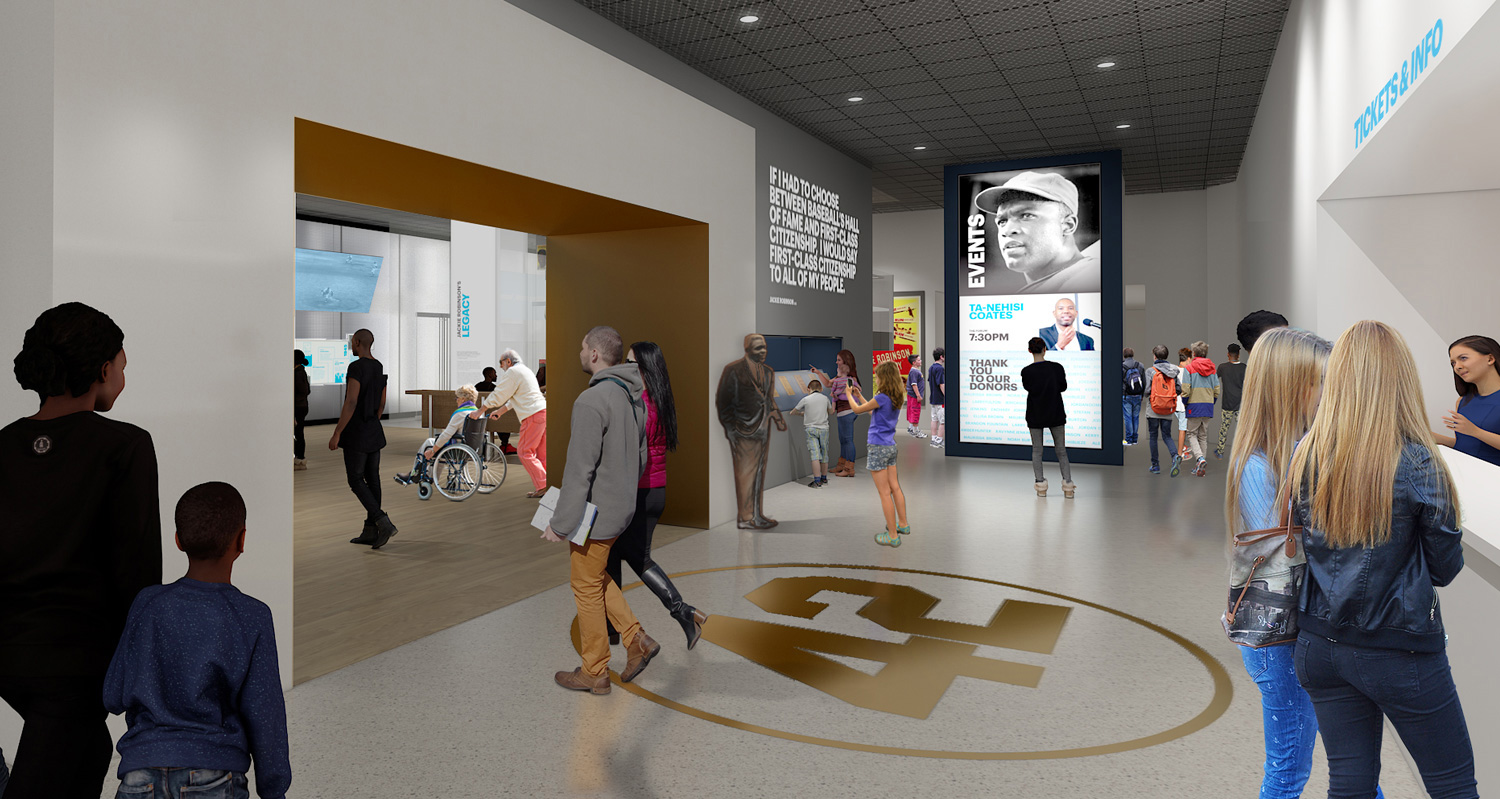 Rendering of the proposed welcome area in the museum.  Ralph Appelbaum Associates