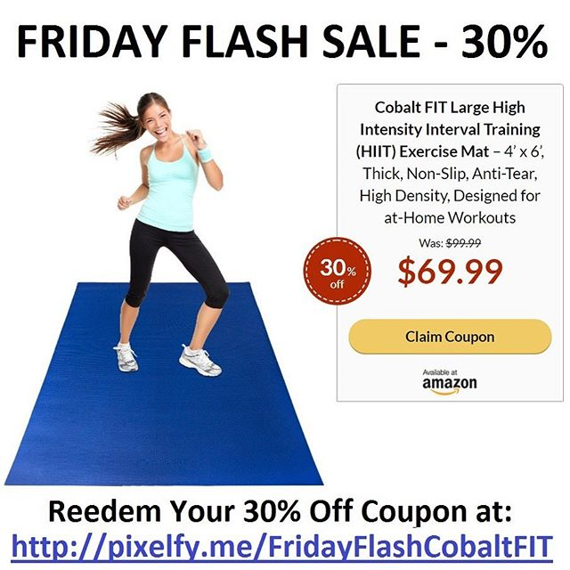 We're pumped to share there is a Friday Flash Sale of 30% off the Amazon's Cobalt FIT exercise mats!! .... Finally an Exercise Mat that won't Rip when you wear shoes! Twice the width of a yoga mat, the Cobalt FIT Exercise Mat is designed for HIIT. Comfortable and Non-Slip, the Cobalt FIT Exercise Mat is perfect for at-Home and App-Based workouts. 💪🏼 .... Only a limited quantity are available for the 30% coupon, and many have already been redeemed. Visit the link in our profile or type the picture's link into your browser to claim a remaining coupon if they're available!  #hiit #hiitworkout #exercisemat #nashville #musiccityfit #tgif