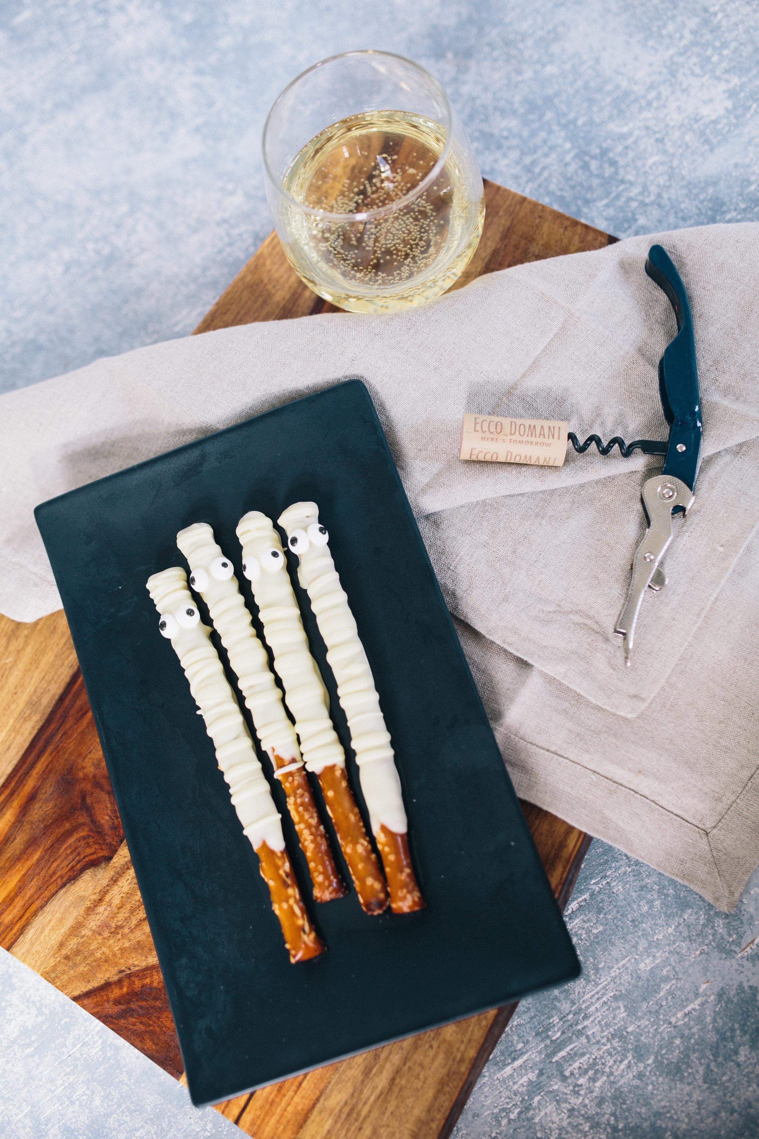 Ecco Domani wine and ghost pretzels