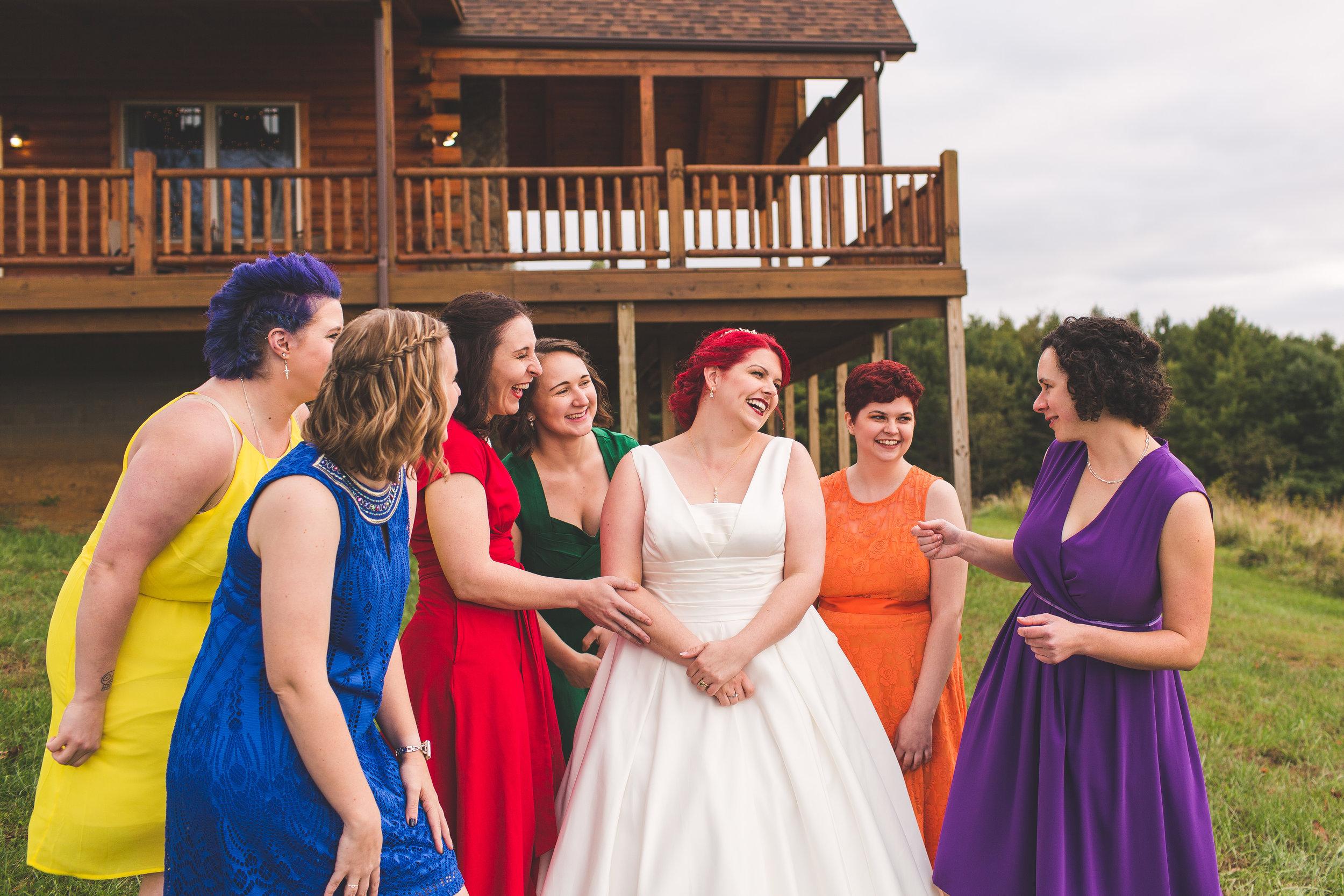 Bride squad laughing lifestyle wedding