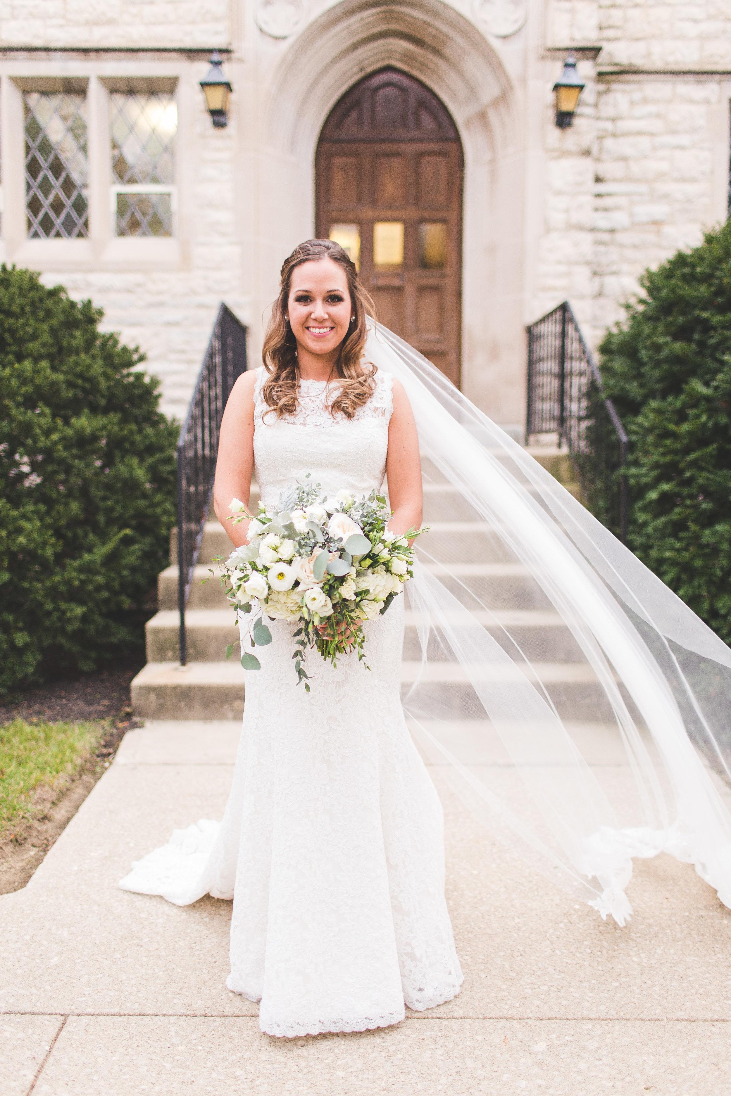 bridal portrait wedding day outside traditional church