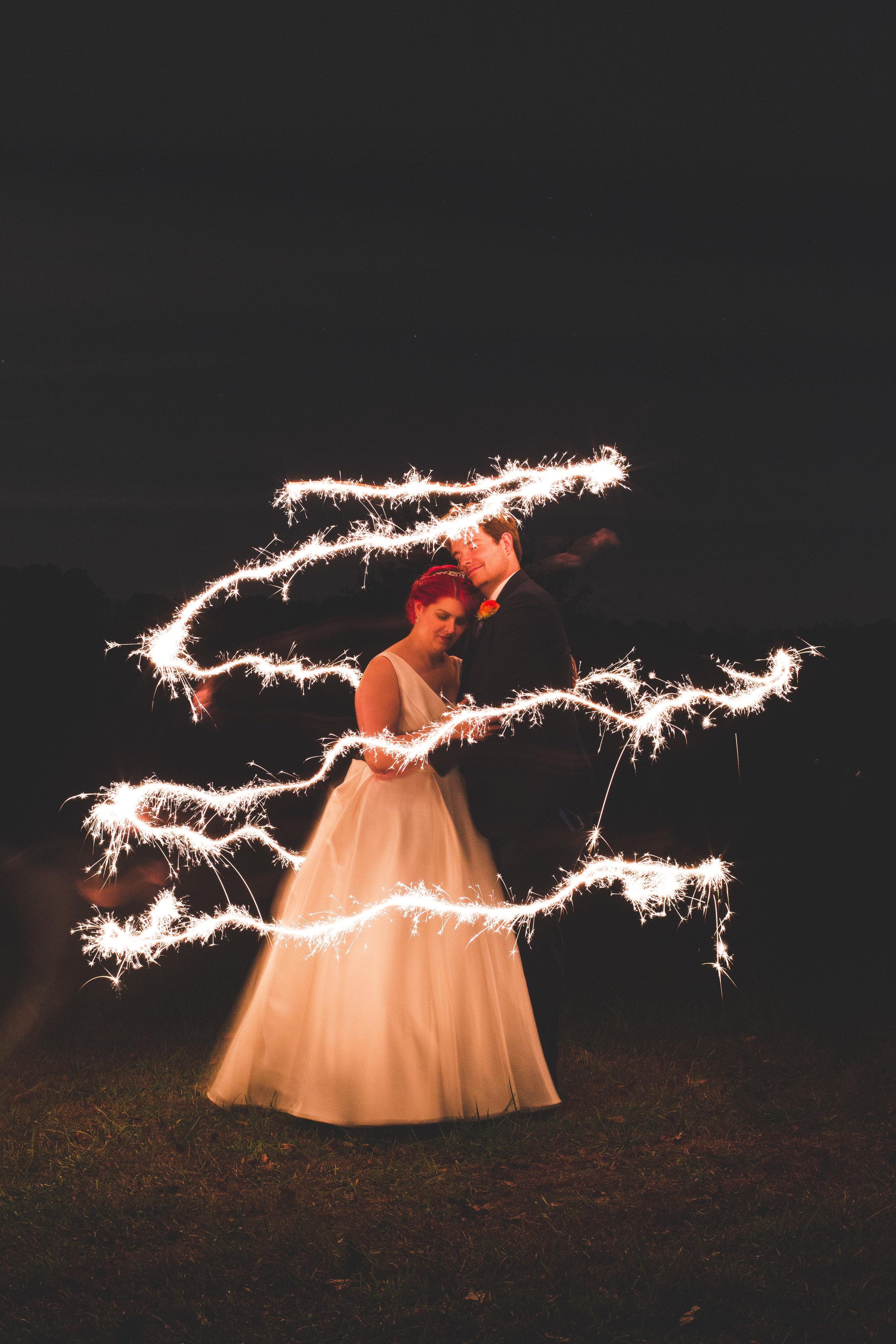 sparkler magical dreamy wedding photo