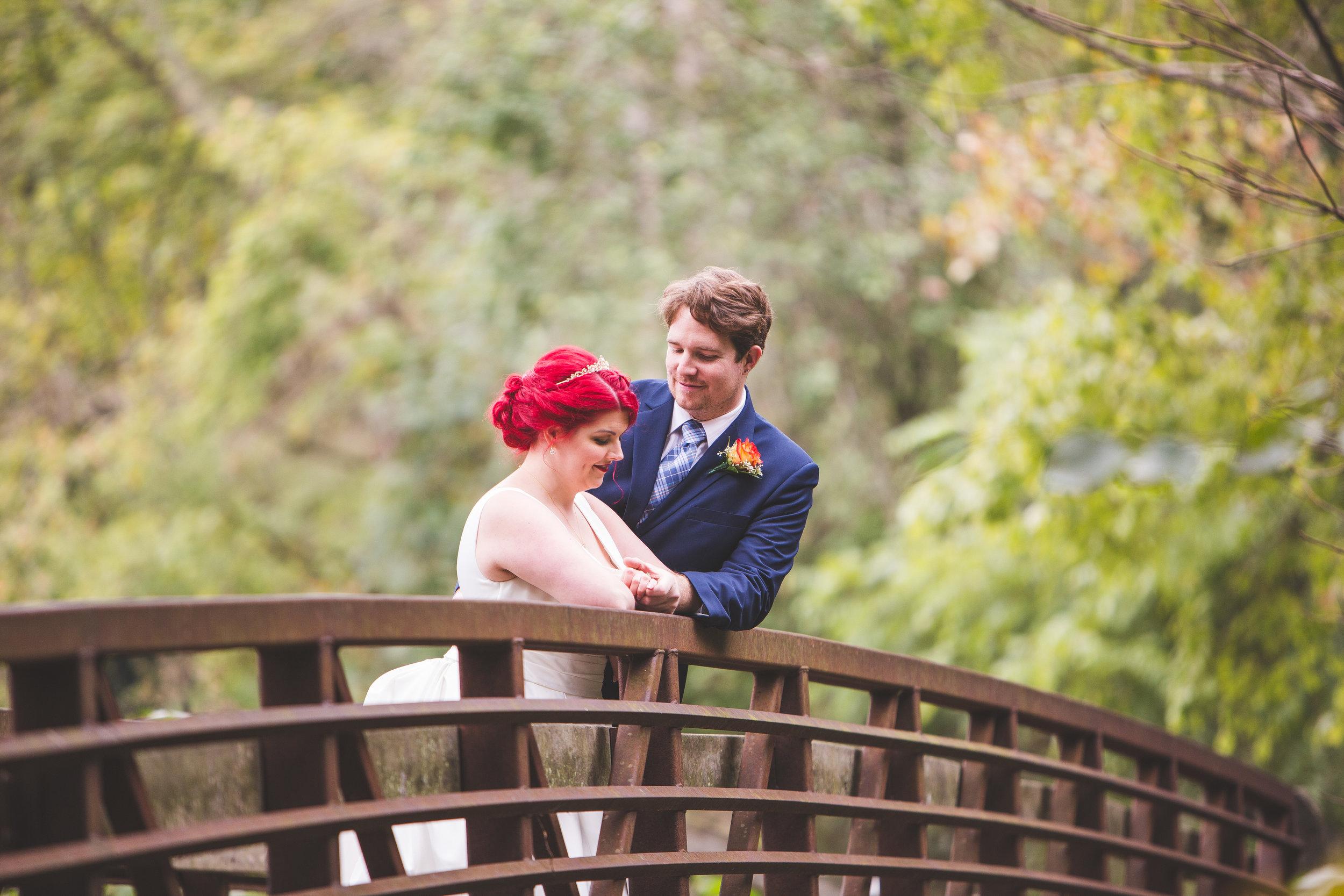 bride groom red hair on bridge hocking hills