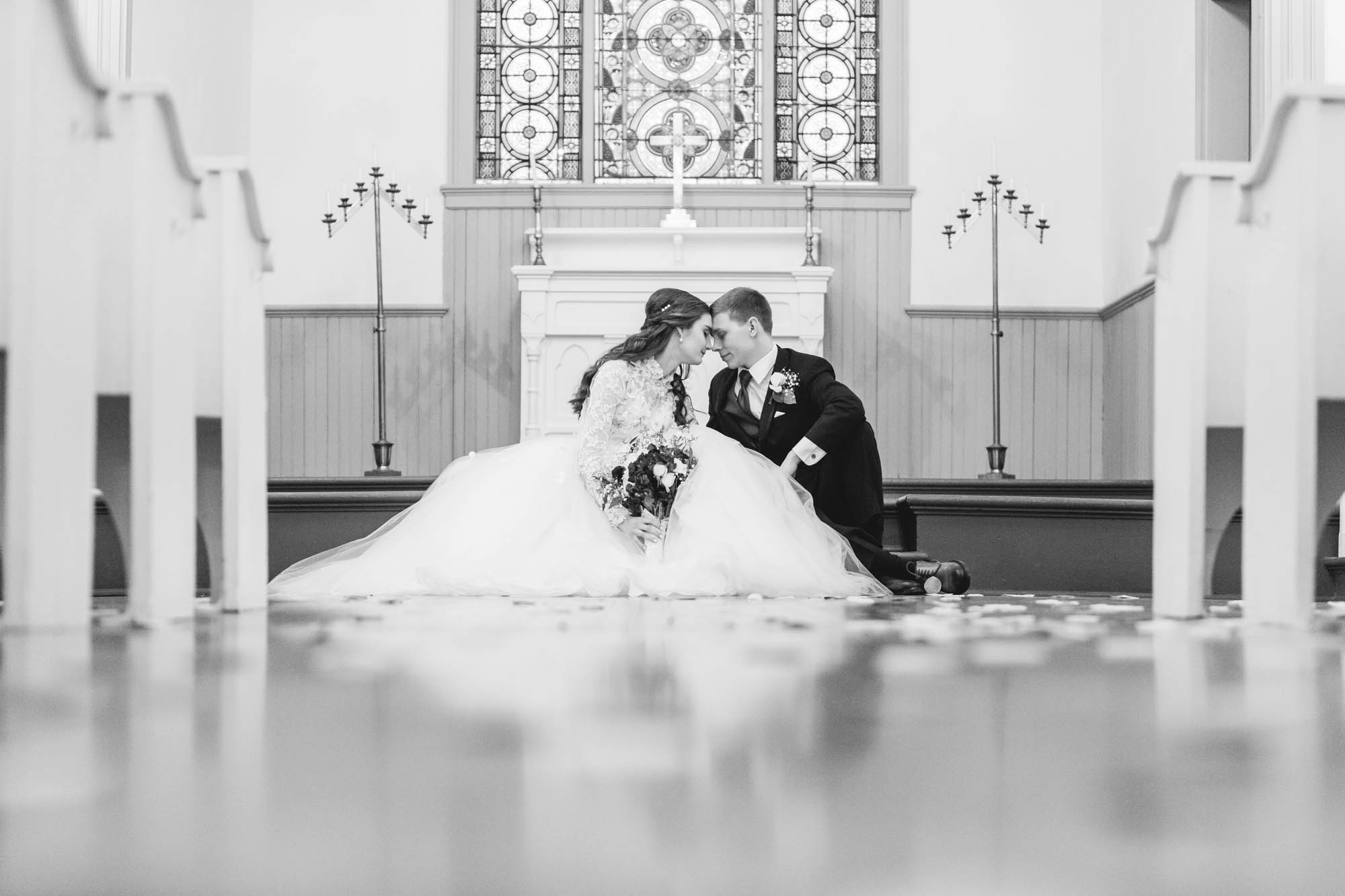bride and groom lifestyle traditional church wedding