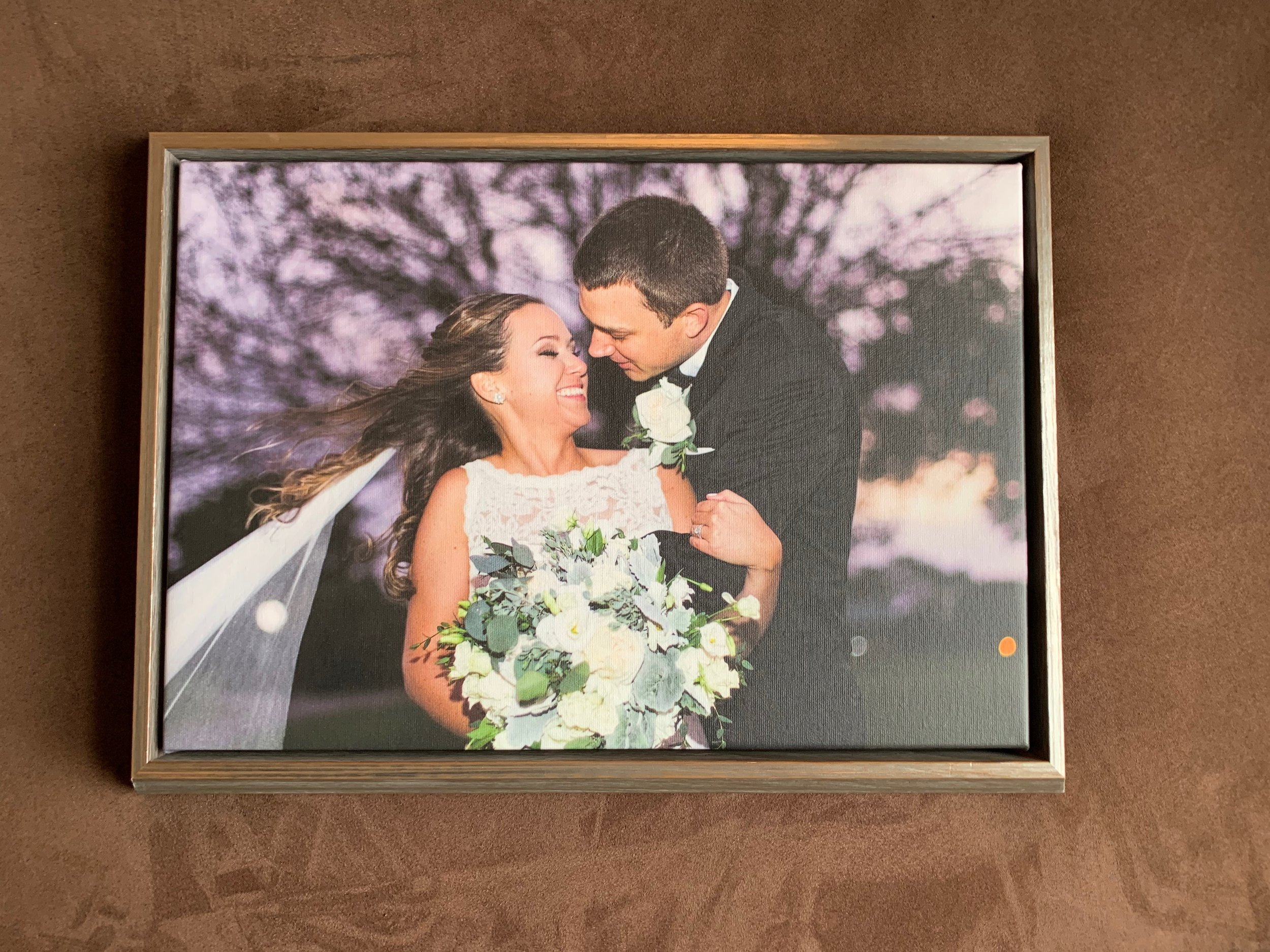 bride and groom floating frame canvas print
