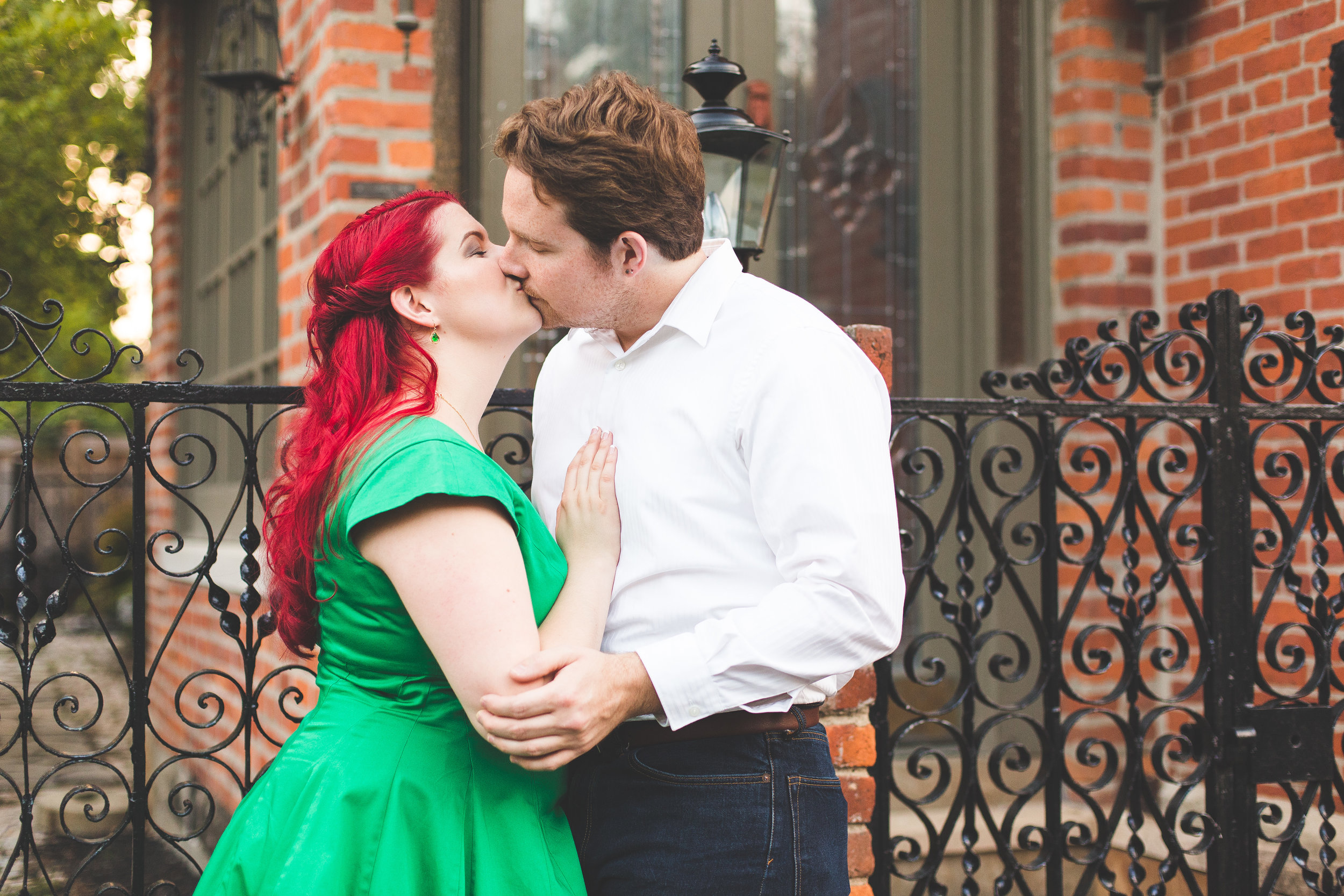 becky and matt's engagement session in german village columbus ohio