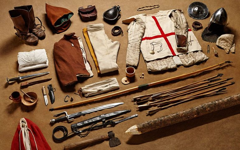 A fascinating insight into what a typical archer carried with them to war. (They probably didn't carry all of this to the battle itself.)