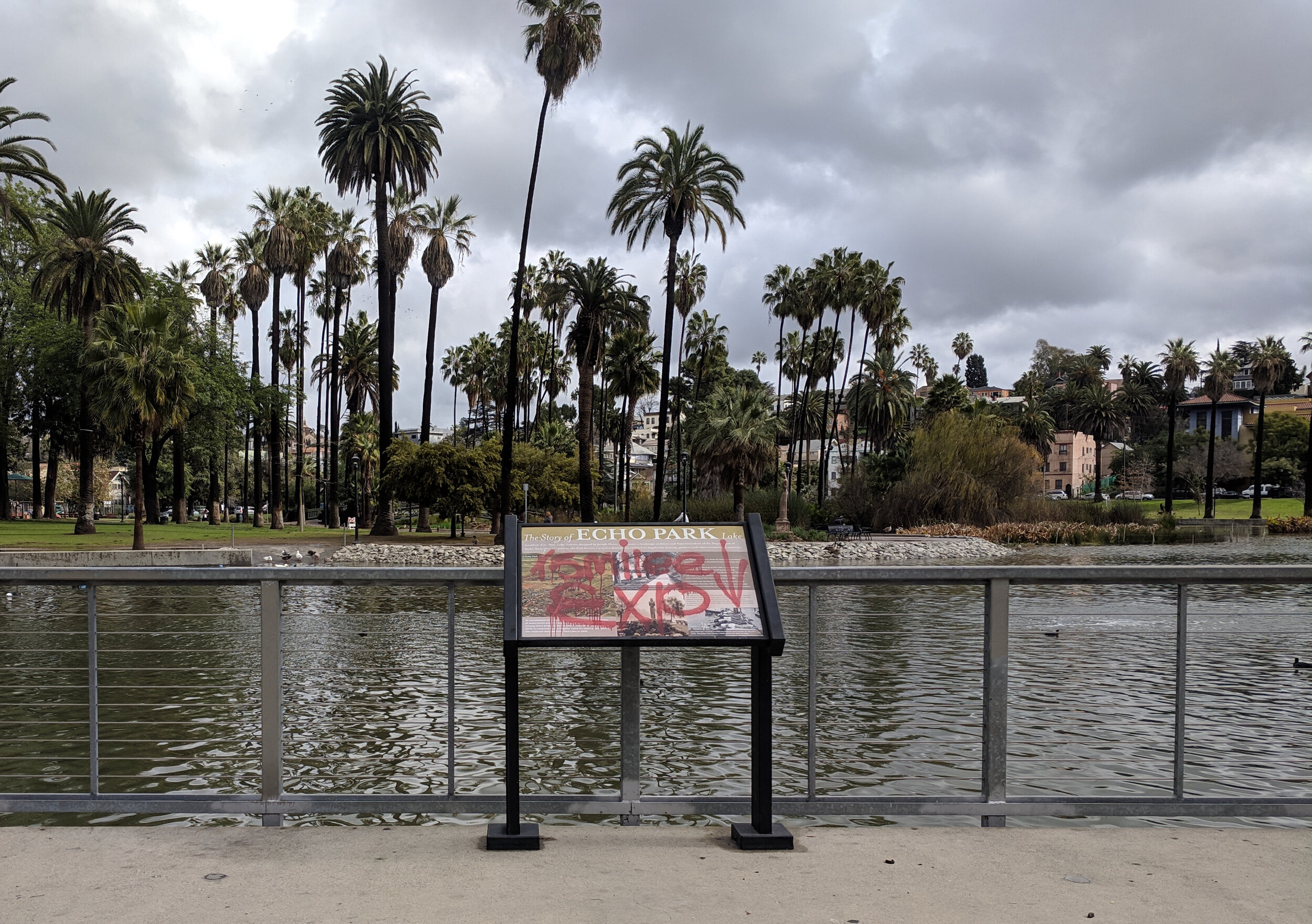 Existing signage at Echo Park Lake.