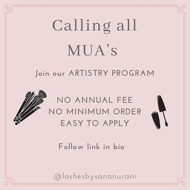 📢Calling All Makeup Artists! 📢  Lashes by Sana Nurani is now officially launching an ARTISTRY PROGRAM 🎨 ✅Easy to apply ✅No annual fee ✅No minimum order  Follow the link: www.lashesbysananurani.com/pro-program  Fill out the application form and we will get back to you within 2 working days 🕛  Once approved, you will receive 30% OFF ALL ORDERS 💸💸💸 What are you waiting for ⁉️ Tag a fellow MUA below 👇 . . . . . . . . . . . . . . . . #proprogram #artistrydiscount #muadiscount #holygrail #shelfie #falselashes #needthis #allnew #brandnew #makeupreviews #newinbeauty #brandnew  #falselashes #motd #makeupoftheday #bblogger #makeup #makeuplaunch #favorites #undiscovered_muas #makeuptalk #makeupjunkie #smokeyeye #makeupporn #lashes #veganlashes #igtopshelfie #makeupdaily #makeupobsessed #crueltyfreebeauty