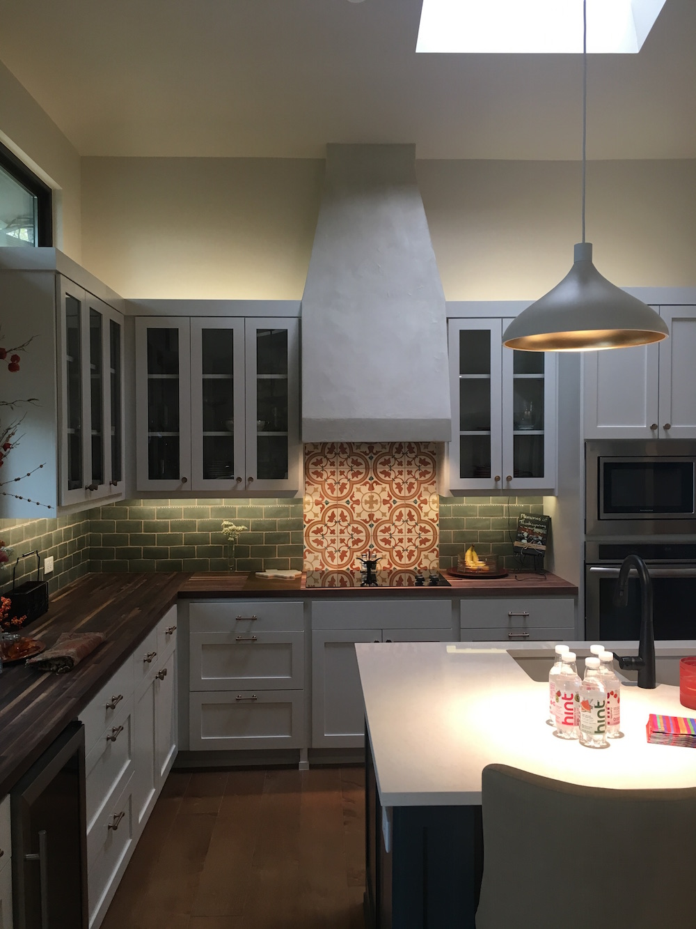 stucco venthood in a renovated kitchen