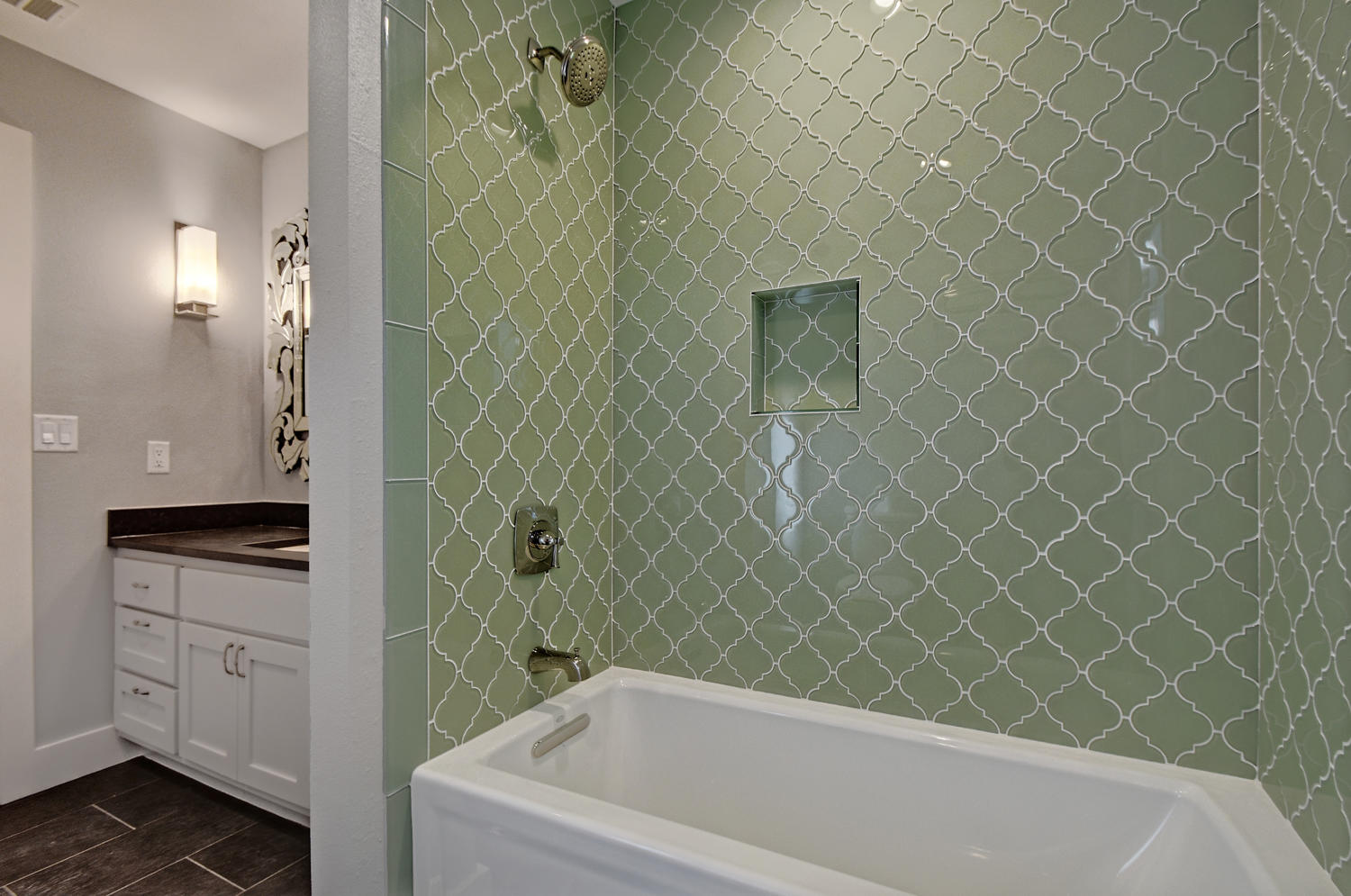 Bathroom Remodel with modern green tile