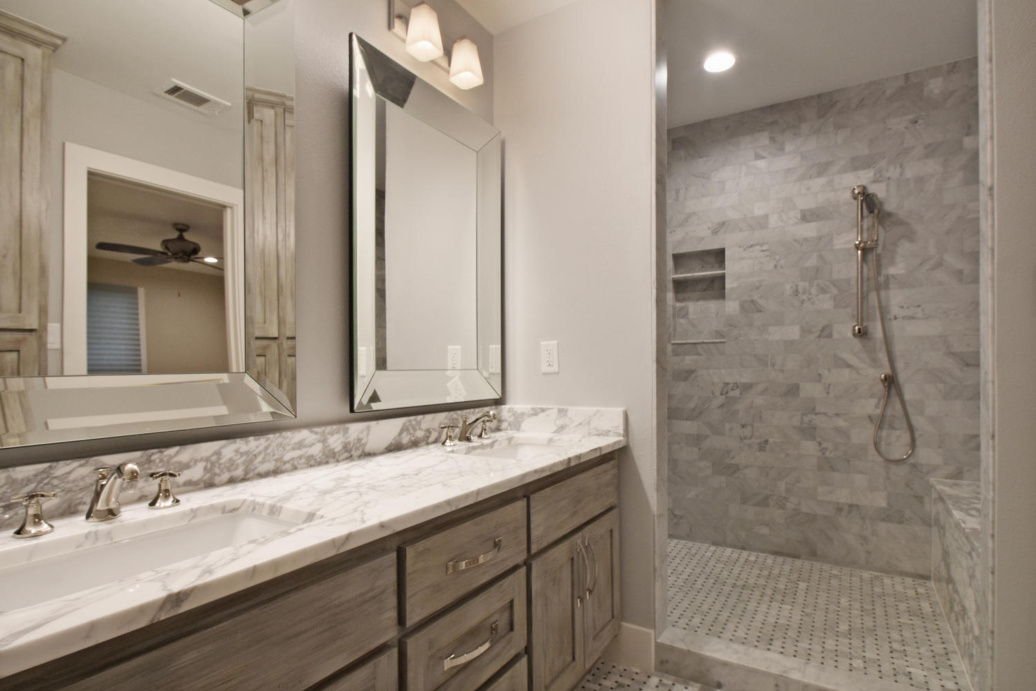 Bathroom remodel with walk-in modern shower