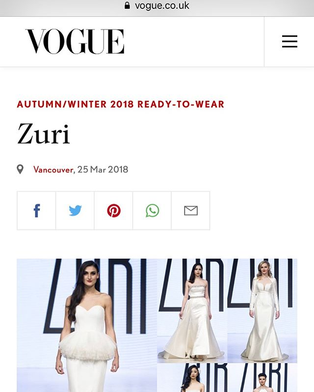 A very special moment we can never forget. Our show in Vancouver got featured in Vogue UK 😍 #hardworkpaysoff • • • • #isaidyestomydress #futurebride #bridalinspo #brides #weddinginspiration #weddinggowns #bridetobe #isaidyes #weddingvibes #weddingdresses #weddingideas #zuribridal #zuribride #zuribrides #zuribridalatl #bridalgown #fashion #bridal #atlanta #bridalgown #bridalgowns #bridal #bridaldesigner #custombridal #timelessbrides #timelessbride #atlantabridetobe #atlantabride #weddinggown #engaged #engagedlife