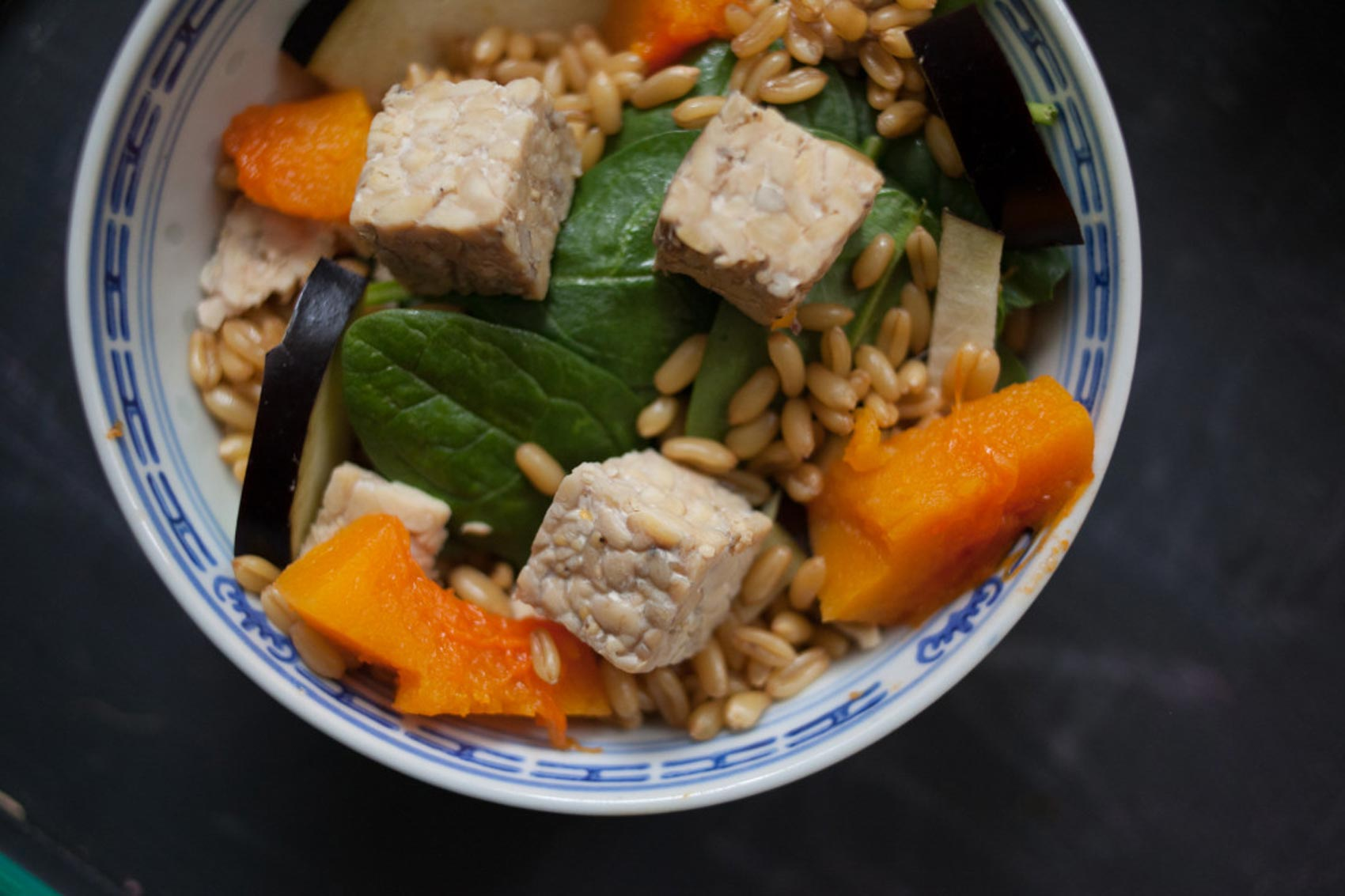 Tempeh + Buttercup Squash + Spinach + Eggplant + Spelt Berries