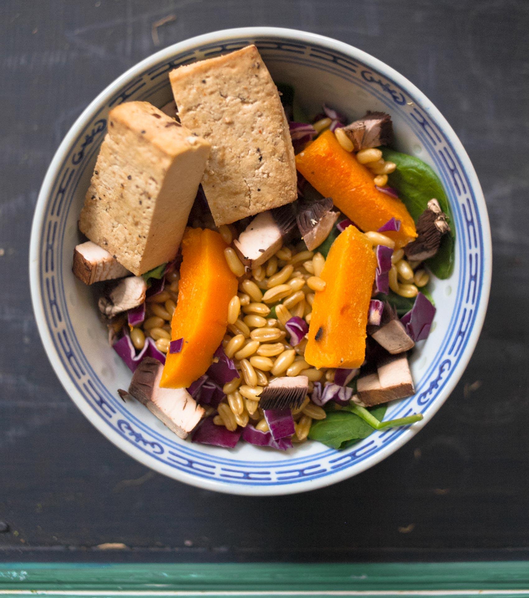 Tofu + Butternut Squash + Mushrooms + Spinach + Cabbage + Farro
