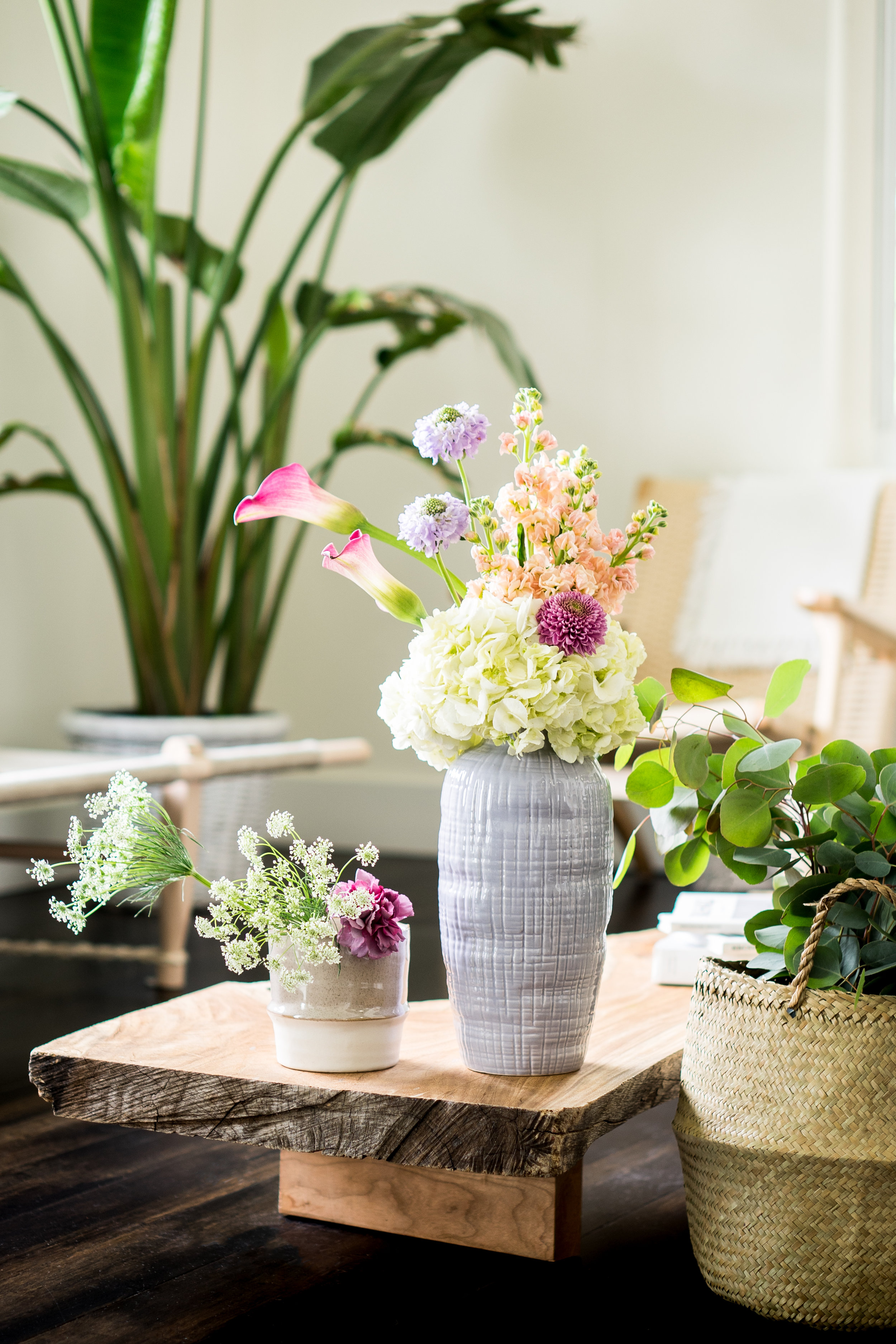 Hydrangea and Calla Lilly Arrangement in Nature Inspired Decor