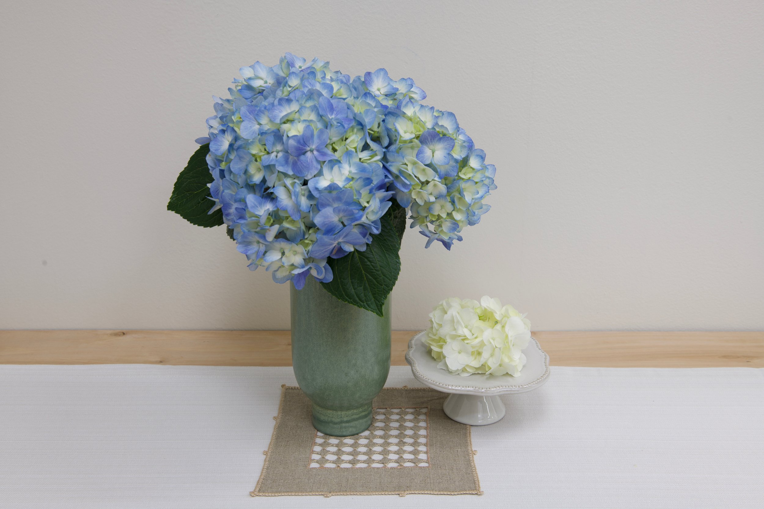 Blue and White Hydrangea. White Magnolia Hearth and Hand Pedestal on Table Runner from Target.
