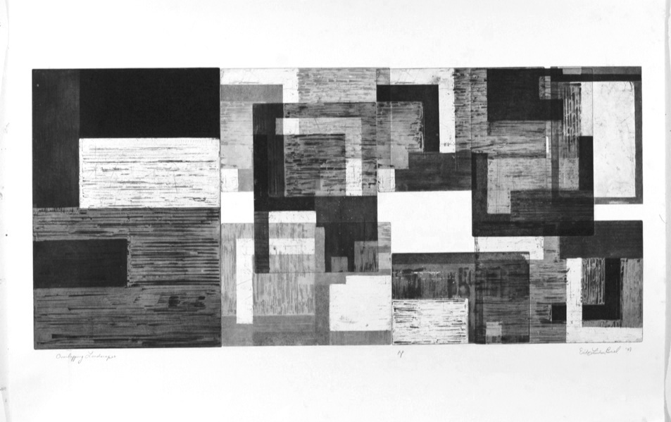 Overlapping Landscapes II, Aquatint etching, 100x60cm, 2008.