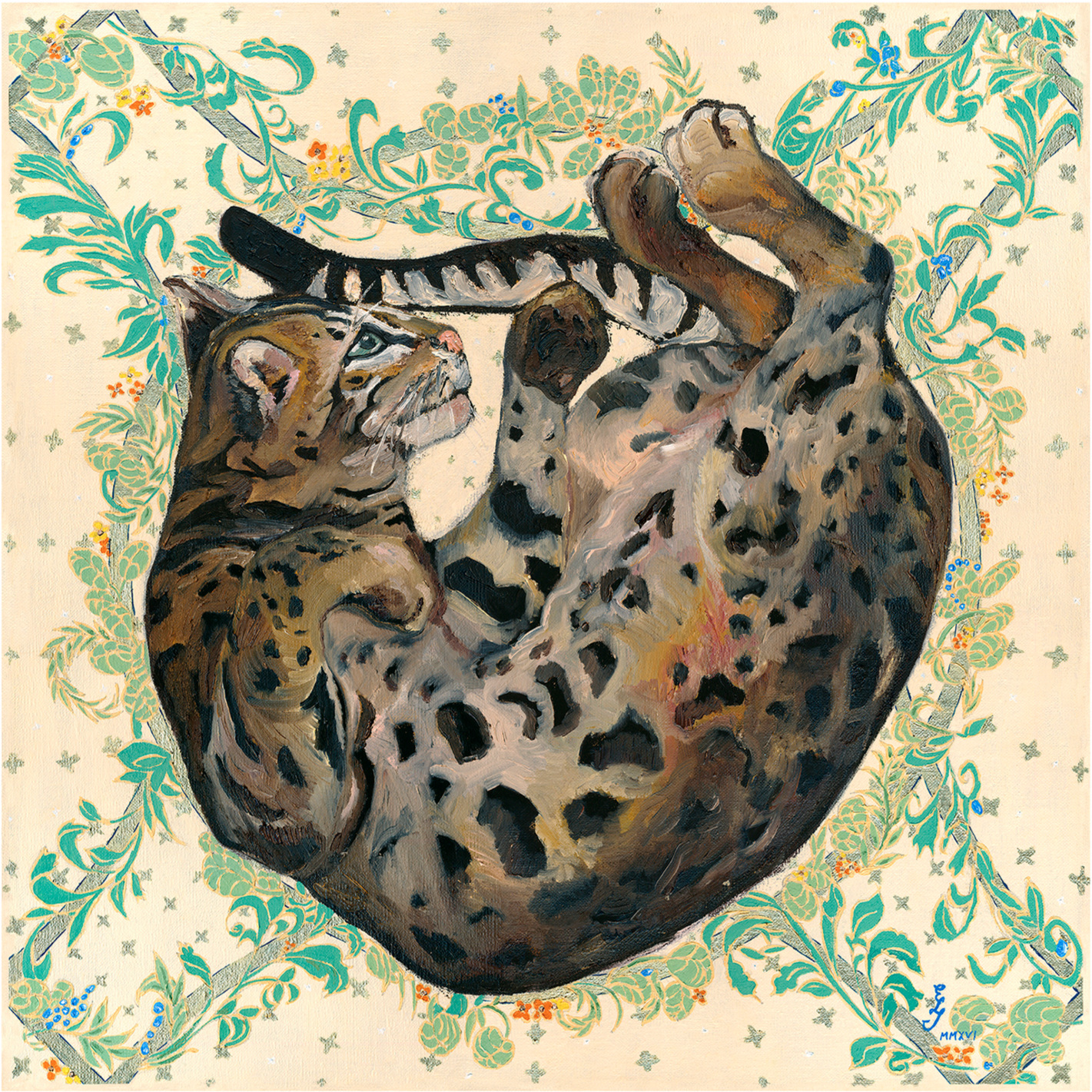 Felis Bengalensis Ajax MMXVI, 60x60cm, oil on canvas, 2016.
