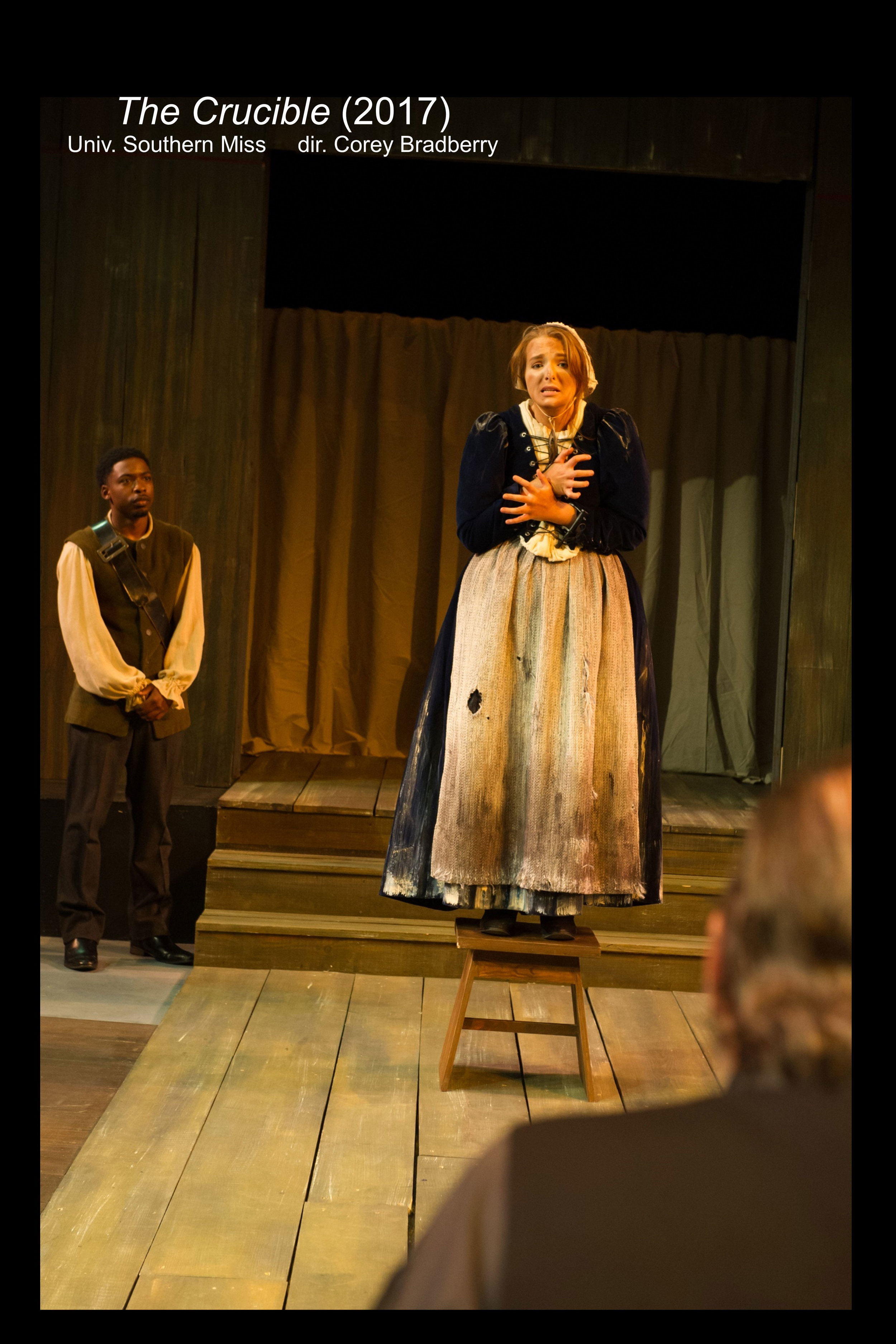 Elizabeth Proctor (Hayley Beasley) on a makeshift stand in  The Crucible  (2017).