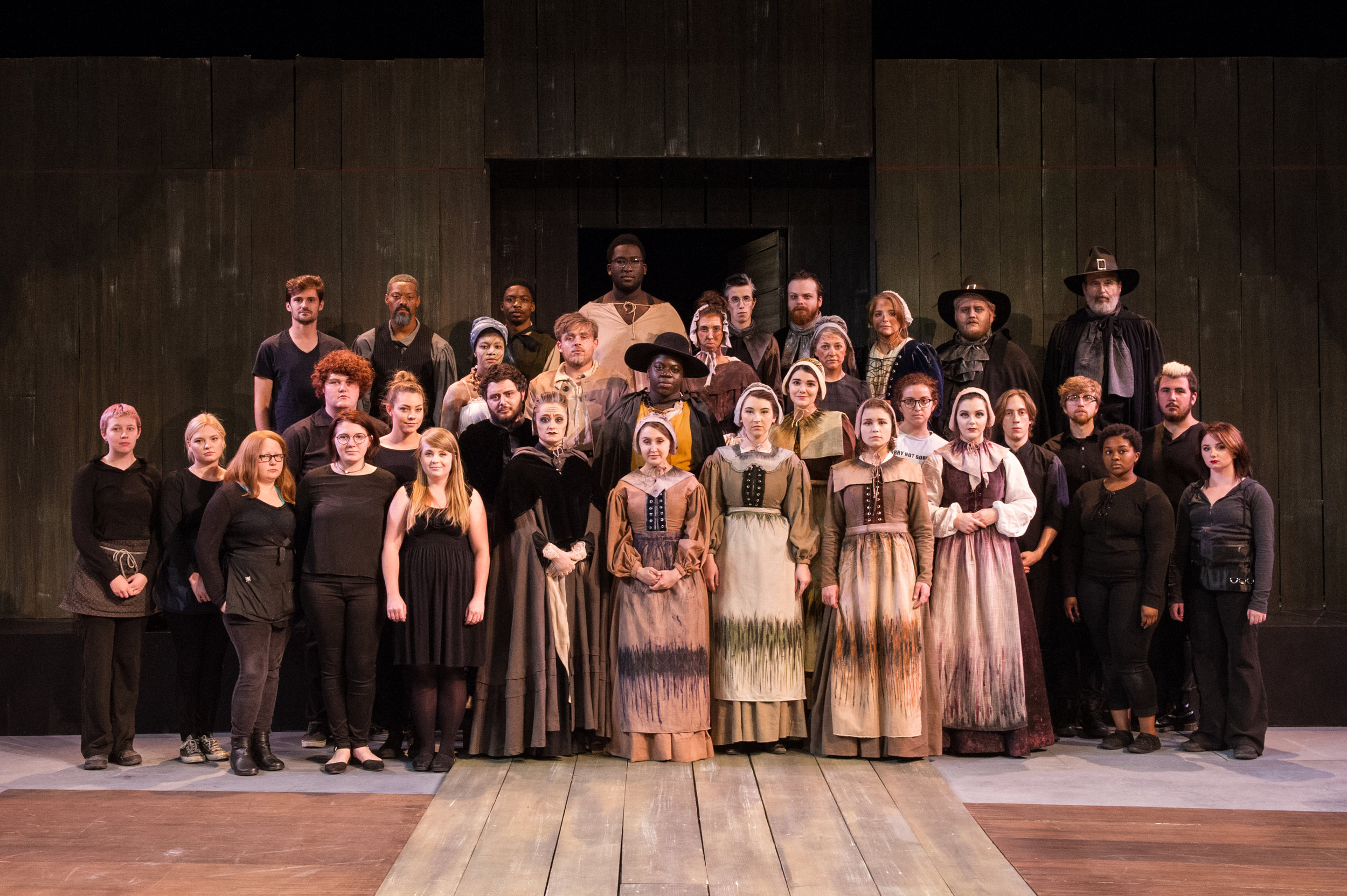 Corey (top L) with the cast and crew of  The Crucible  at University of Southern Mississippi (2017).