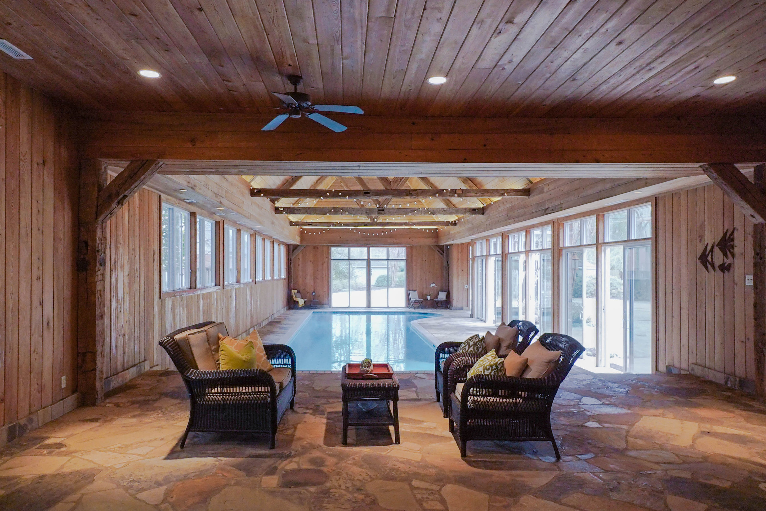 "Low Maintenance pool & spa - Exercise, entertain, and enjoy all year long!""It's a shame you even have to call it an indoor pool. It is so much more than that and is not the smelly 80's sportsplex you may envision when you hear indoor pool."" It has a luxury lodge feel!"