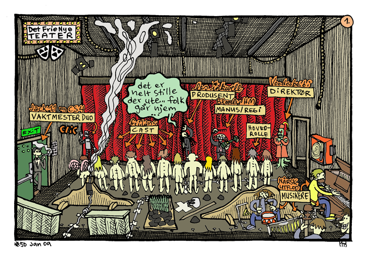 "An example of how Les Inkwell plays with self- referring to his back catalogue of work: in  ""The Free New Theatre""  he mocks the Luke warm reception of ""The Cage of Fear"" comix serial as if it was a musical theatre production with characters from several other comix and serials playing roles as stage crew and musicians."