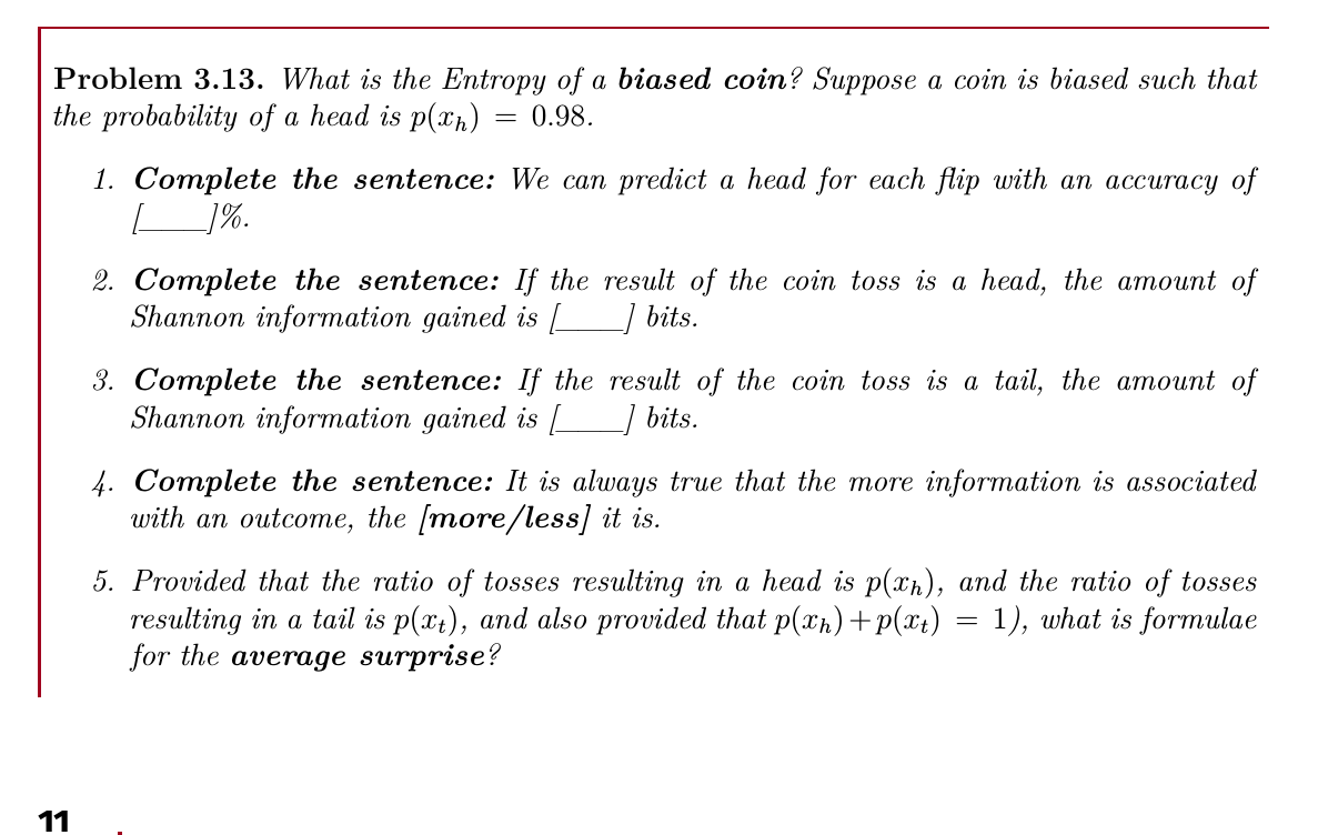 Sample Job Interview Question: Information theory