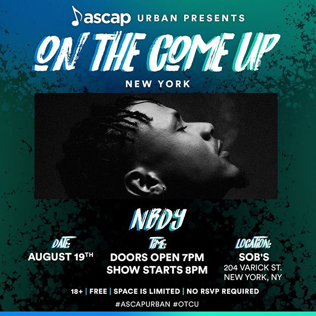 This Monday! Come through this Monday in NYC! Sharing the stage with some dope talent, and it's FREE!! Get there early, its going to be packed! @ascapurban