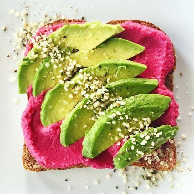 Beetroot Hummus on toast